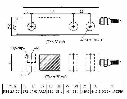 Kích thước lắp đặt Loadcell Mavin NB3 (2.5~7.5t)