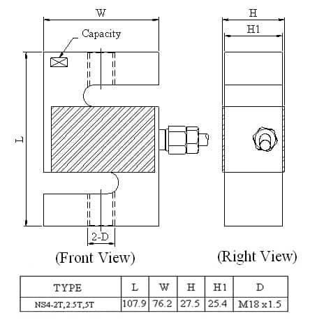 Thông số lắp đặt Loadcell Mavin NS4