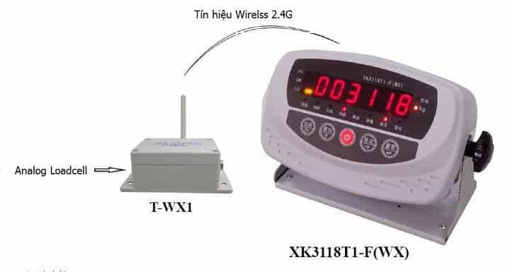 Mô hình kết nối hệ thống không dây trên đầu cân XK3118T1-F-WX
