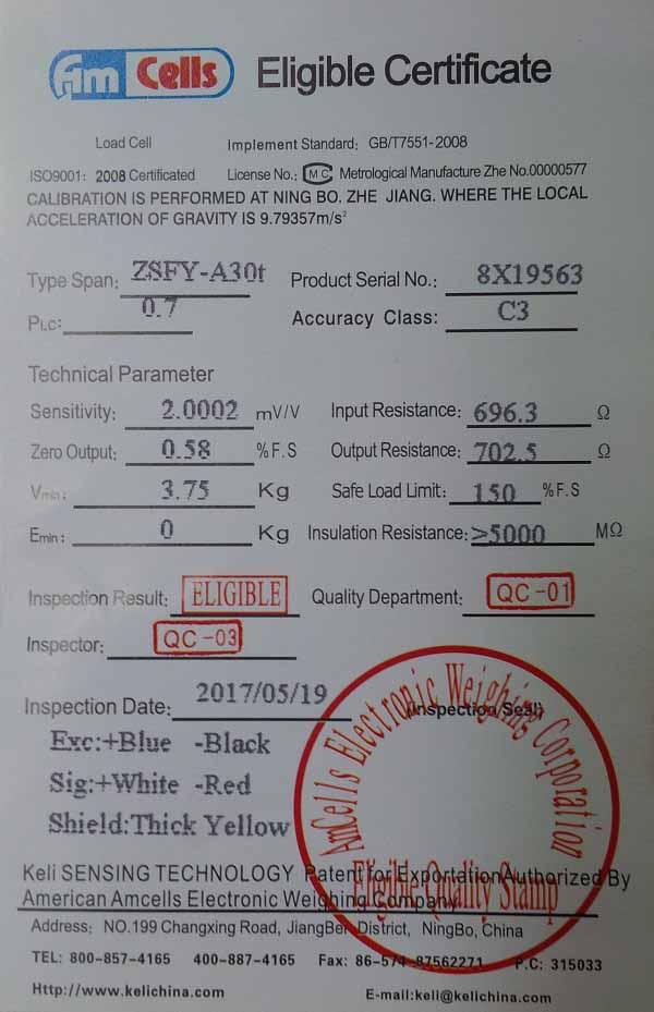Thông số Kỹ thuật của Loadcell AMCells ZSFY-30t