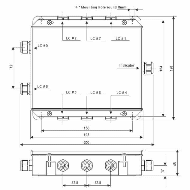 Kích thước lắp đặt hộp nối JB-SS304