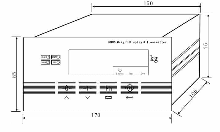 Kích thước lắp đặt Đầu cân đóng bao XK3101 (KM05)