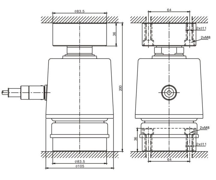 Kích thước lắp đặt Cảm biến lực MKCells CLC-30t