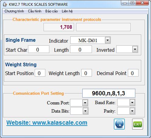 Phần mềm cân xe KWS2.7 - Cấu hình với đầu cân MK-Di01