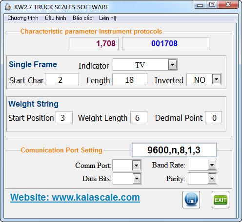 Phần mềm cân xe KWS2.7 - Cấu hình với đầu cân bất kỳ