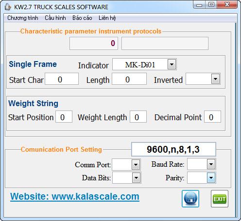 Phần mềm cân xe KWS2.7 - Cấu hình đầu cân
