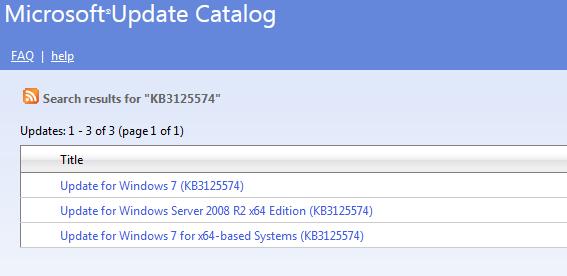 Update for Windows 7 (KB3125574)